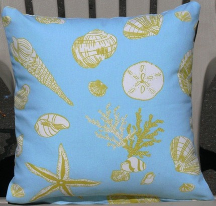 Baby Blue and lime green starfish and seashell throw pillow